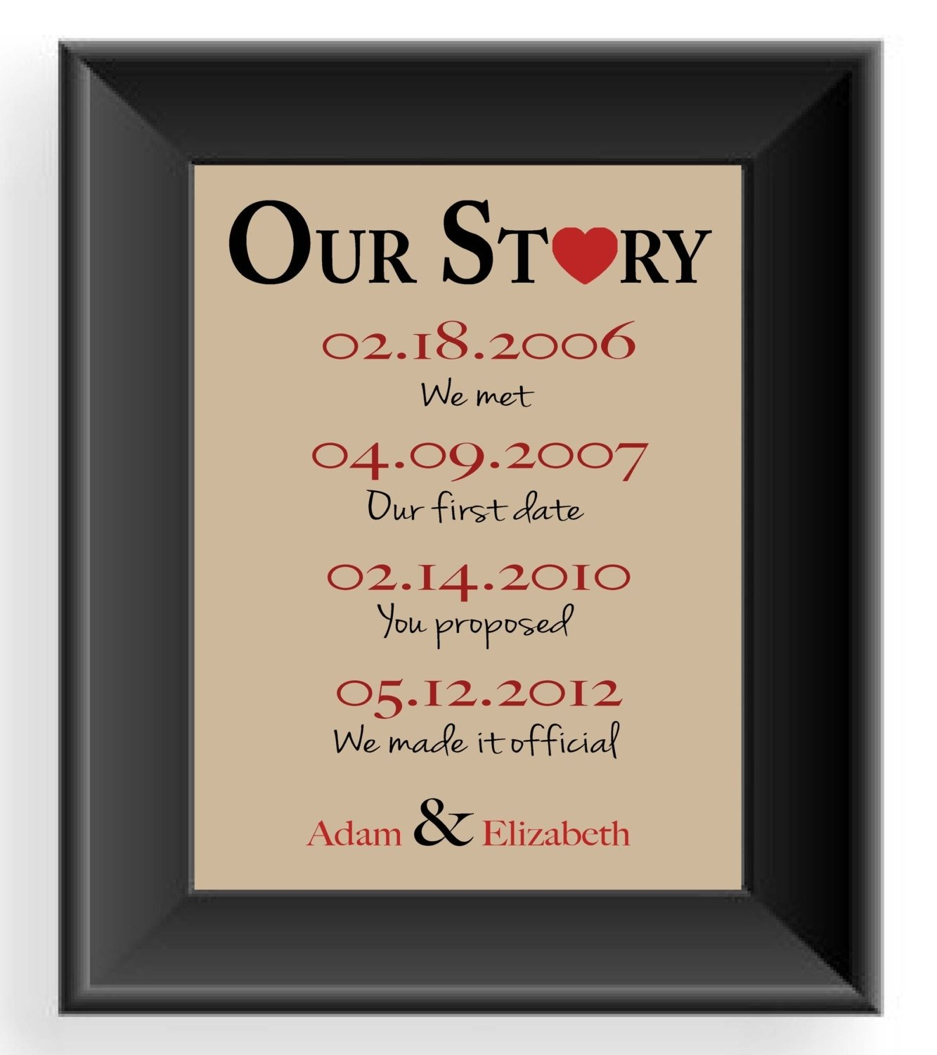 valentine's day gift -important dates -wedding gift for couple