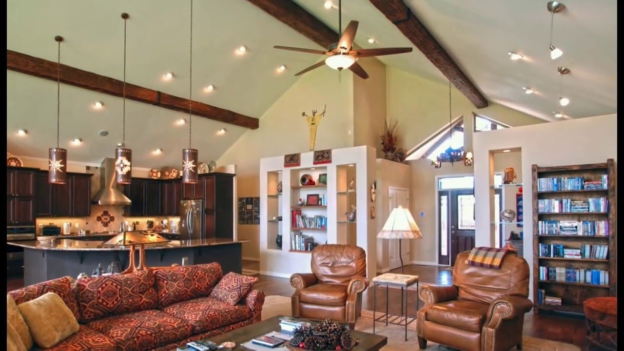 vaulted ceiling lighting ideas | kitchen, living room and bedroom