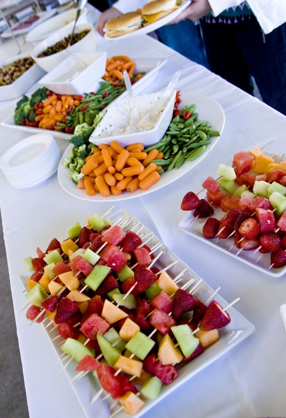 veggie trays like this and fruit kabobs for the wedding, with