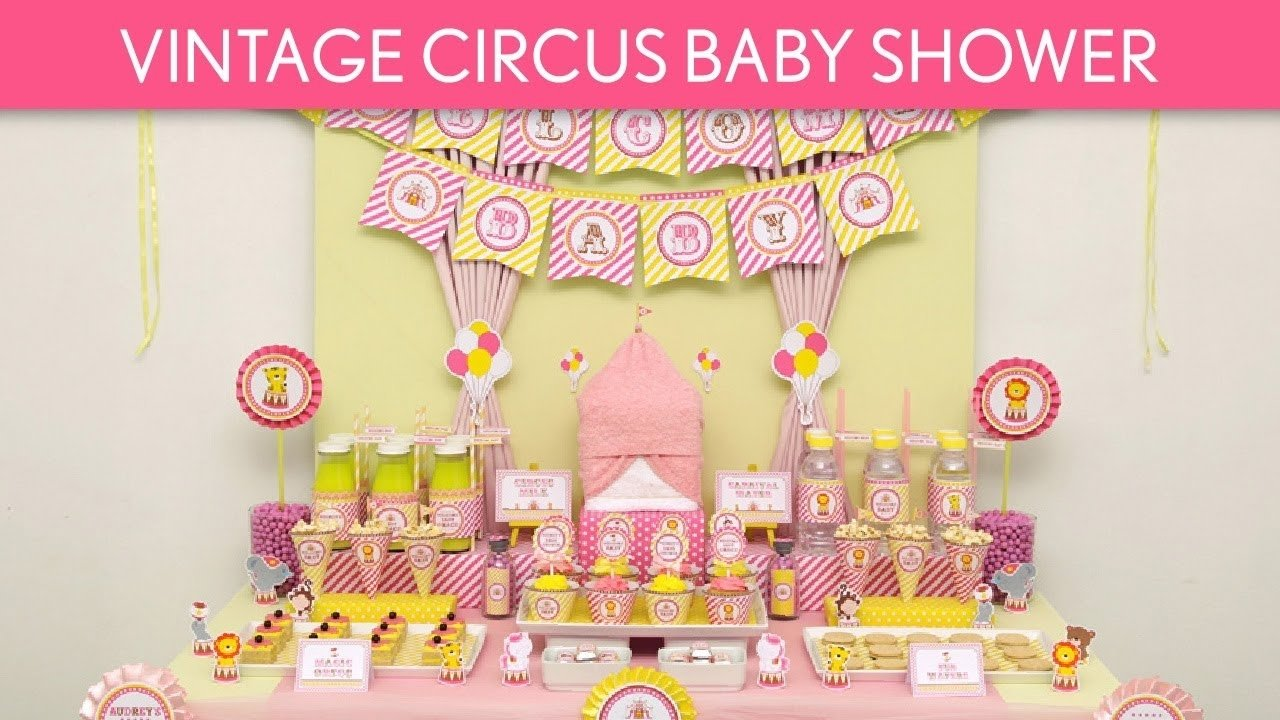 10 Stunning Pink And Yellow Baby Shower Ideas vintage circus baby shower ideas vintage circus s32 youtube 2020