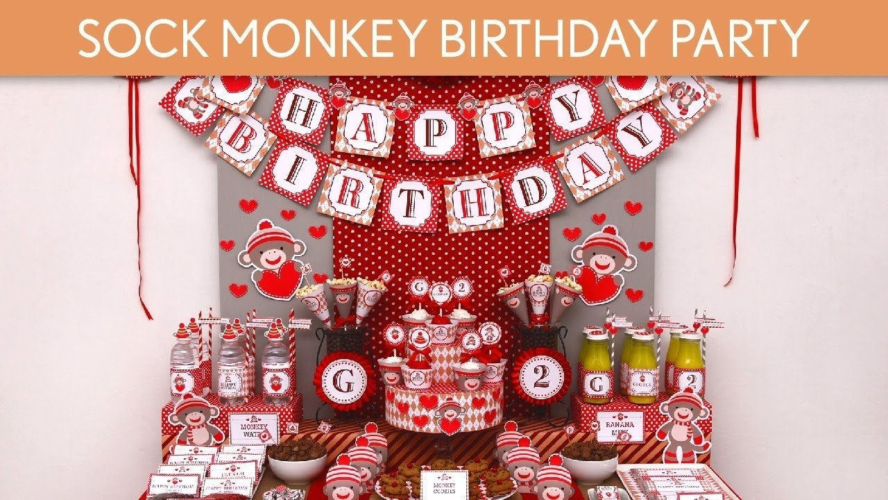vintage sock monkey birthday party ideas // vintage sock monkey
