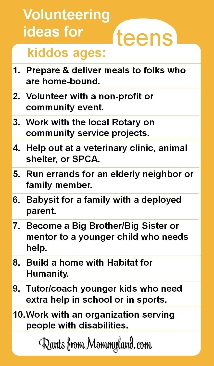 10 Unique High School Service Project Ideas volunteer and service ideas for teens even young teens can do a lot 8