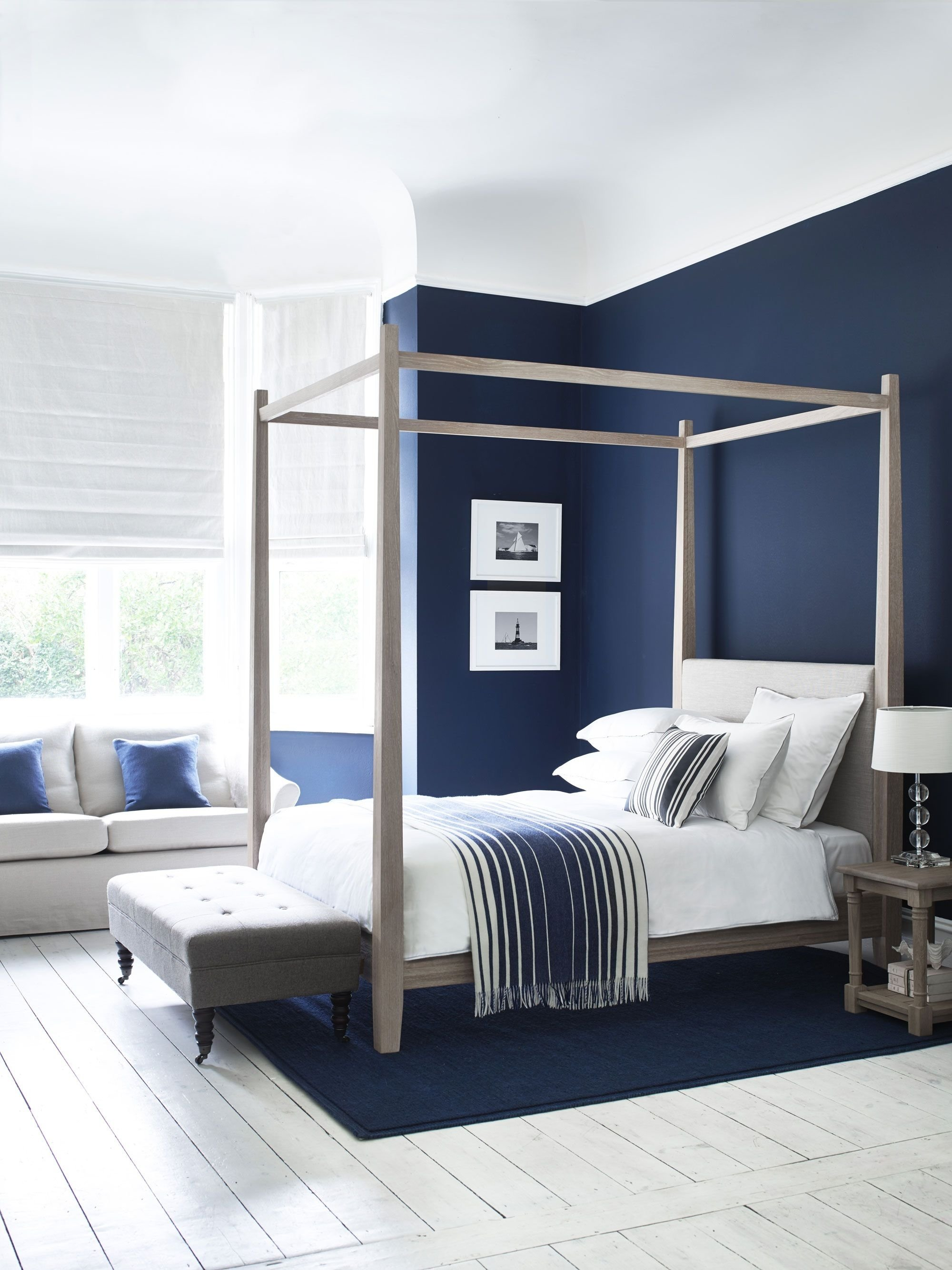 10 Stylish Blue And White Bedroom Ideas wardley four poster bed in oak simple and elegant shakerstyle 2020
