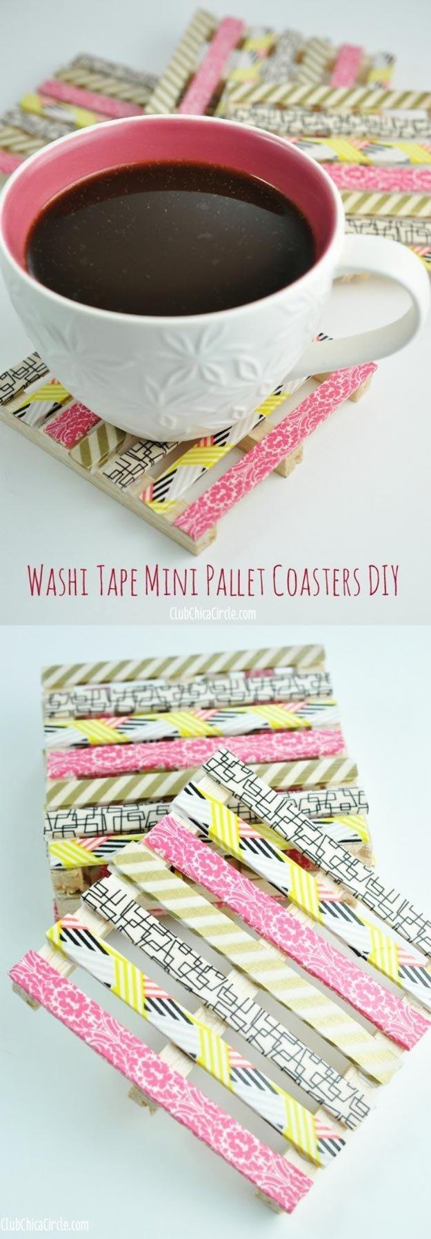 10 Stylish Money Making Ideas For Teenagers washi tape mini wood pallet coasters 4