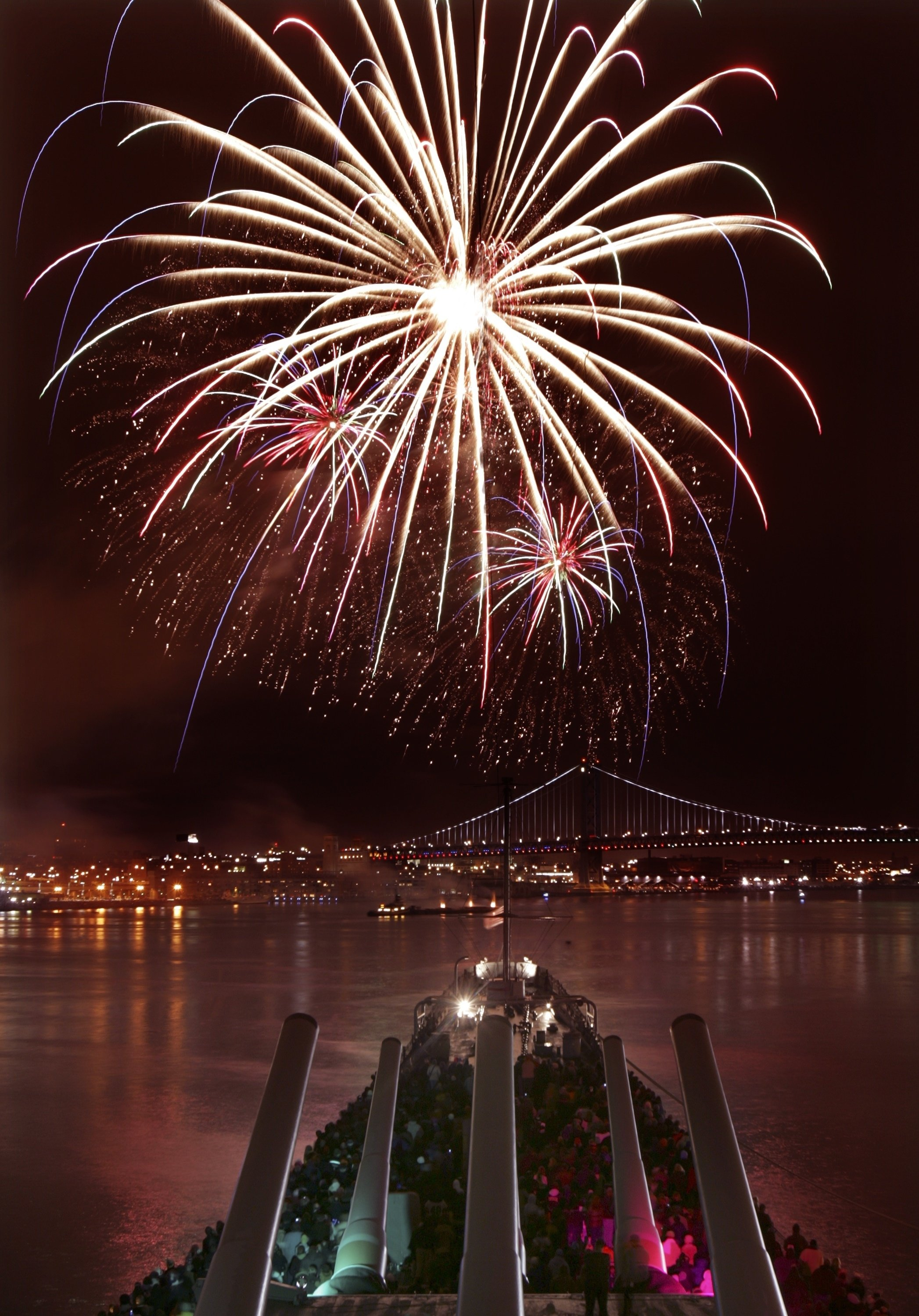 watch new year's eve fireworks from the battleship! - battleship new