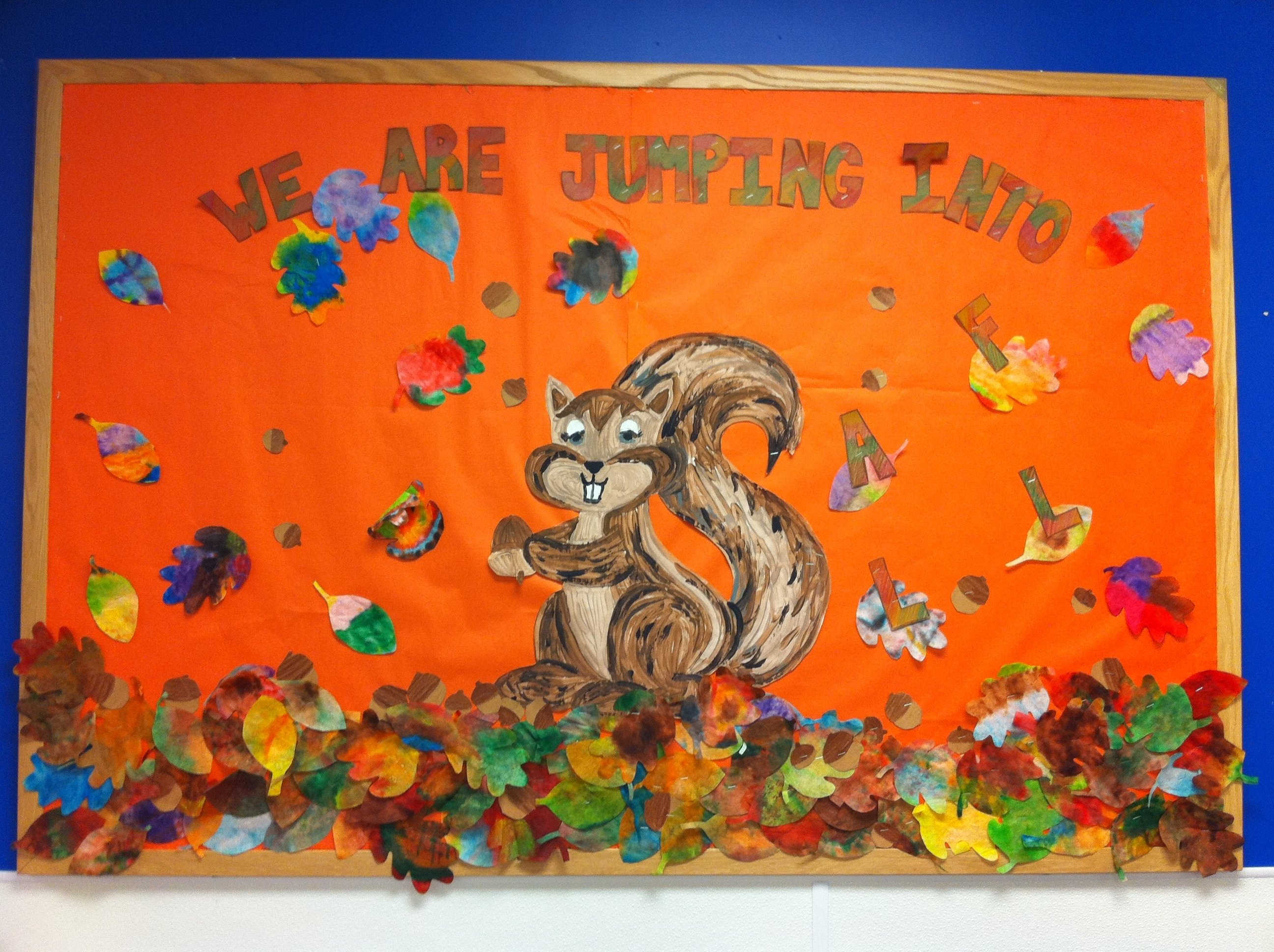 10 Unique Bulletin Board Ideas For Fall we are jumping into fall watercolor fall leaves craft bulletin 4