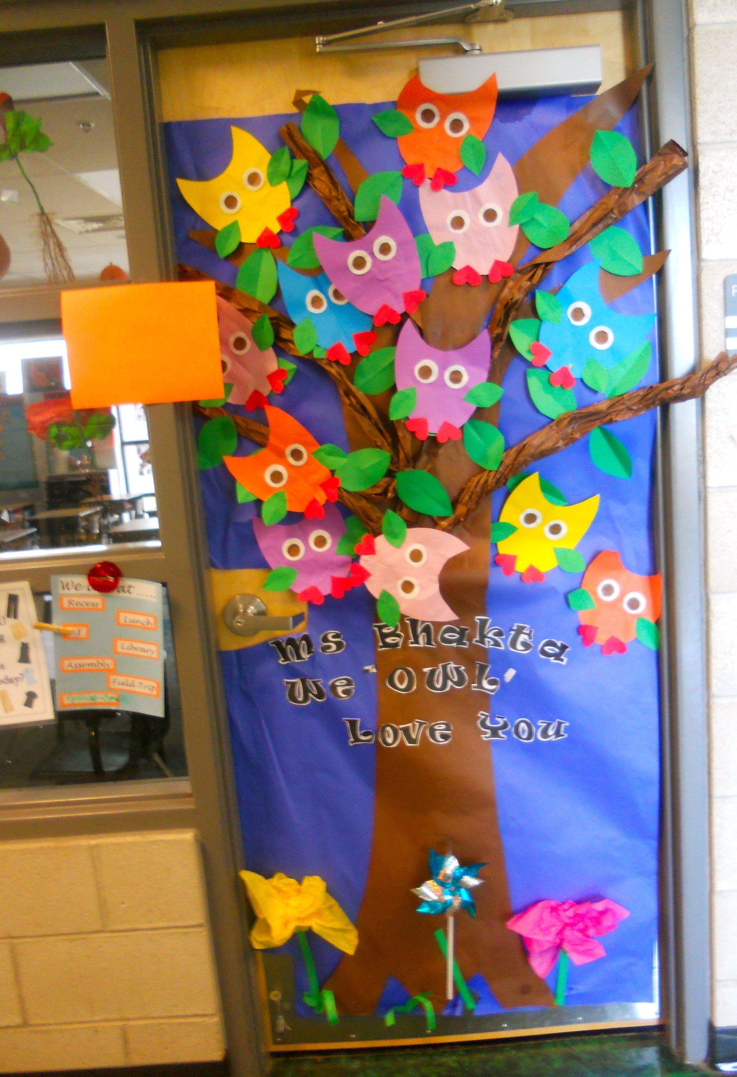 "we owl love you"" door decoration for teacher appreciation | teacher"