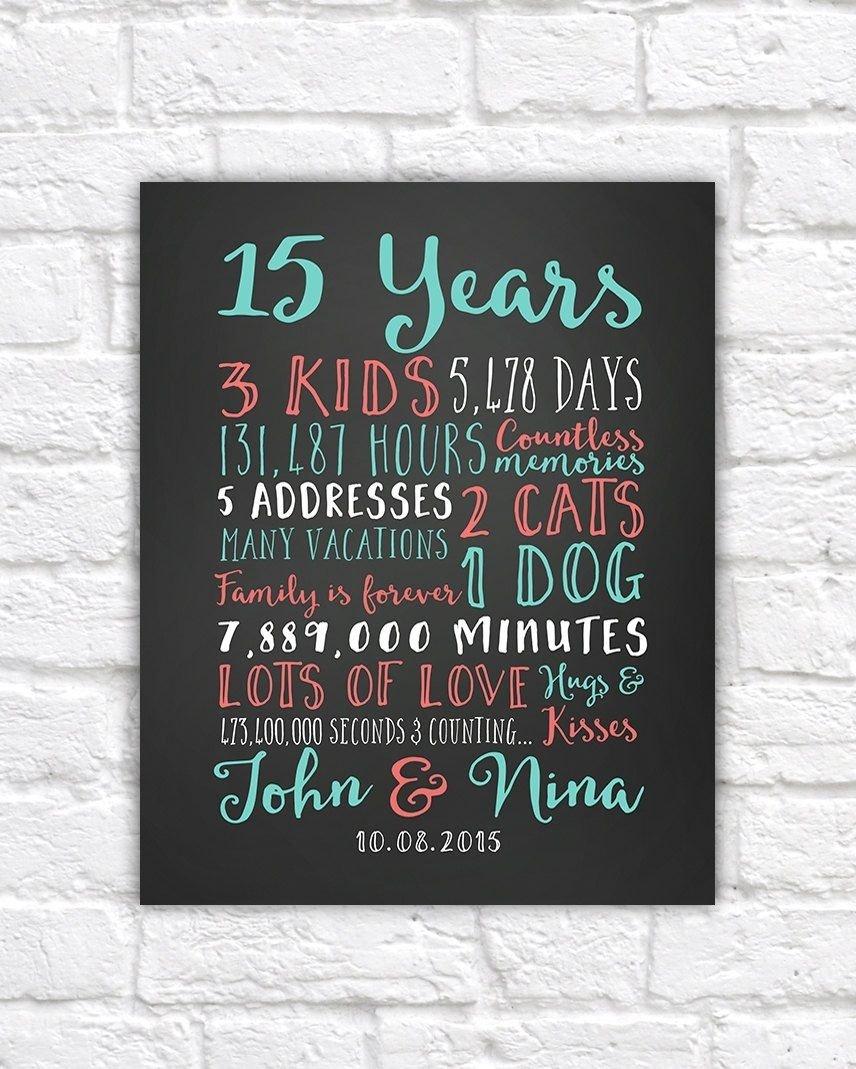 10 Cute 15Th Wedding Anniversary Gift Ideas wedding anniversary gifts paper canvas 15 year anniversary 15th 4