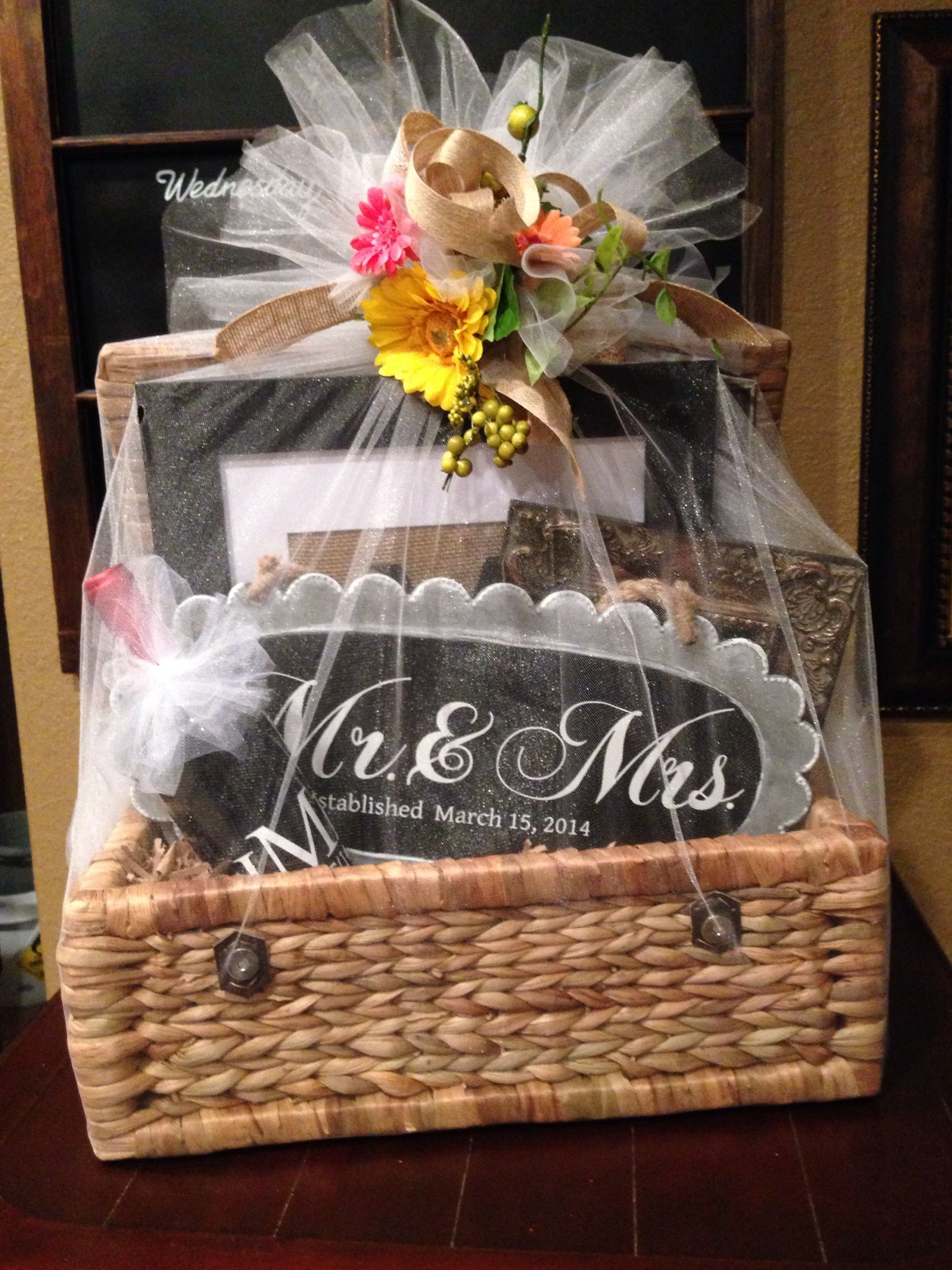 10 Beautiful Personal Bridal Shower Gift Ideas wedding gift basket filed with personalized gifts made with my 1 2020