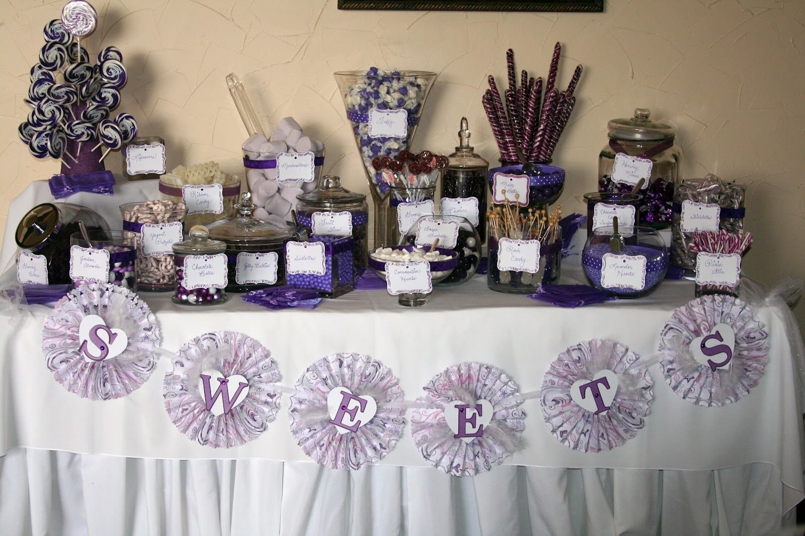 wedding reception purple desert bar | wedding reception candy buffet