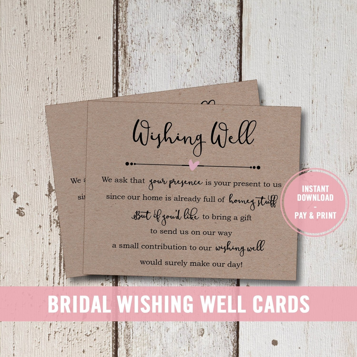 10 Stylish Wishing Well Ideas For Bridal Shower wedding wishing well card printable bridal shower wishing well 2021