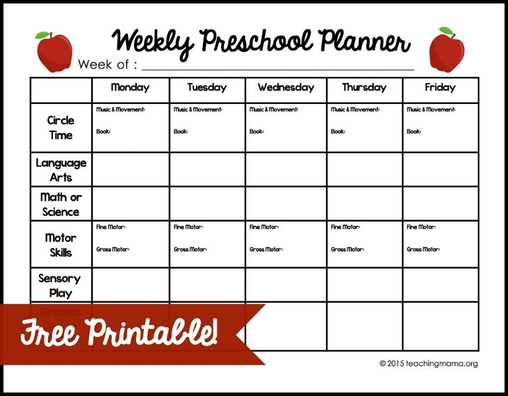 10 Lovely Lesson Plan Ideas For Preschoolers weekly preschool planner free printable 3