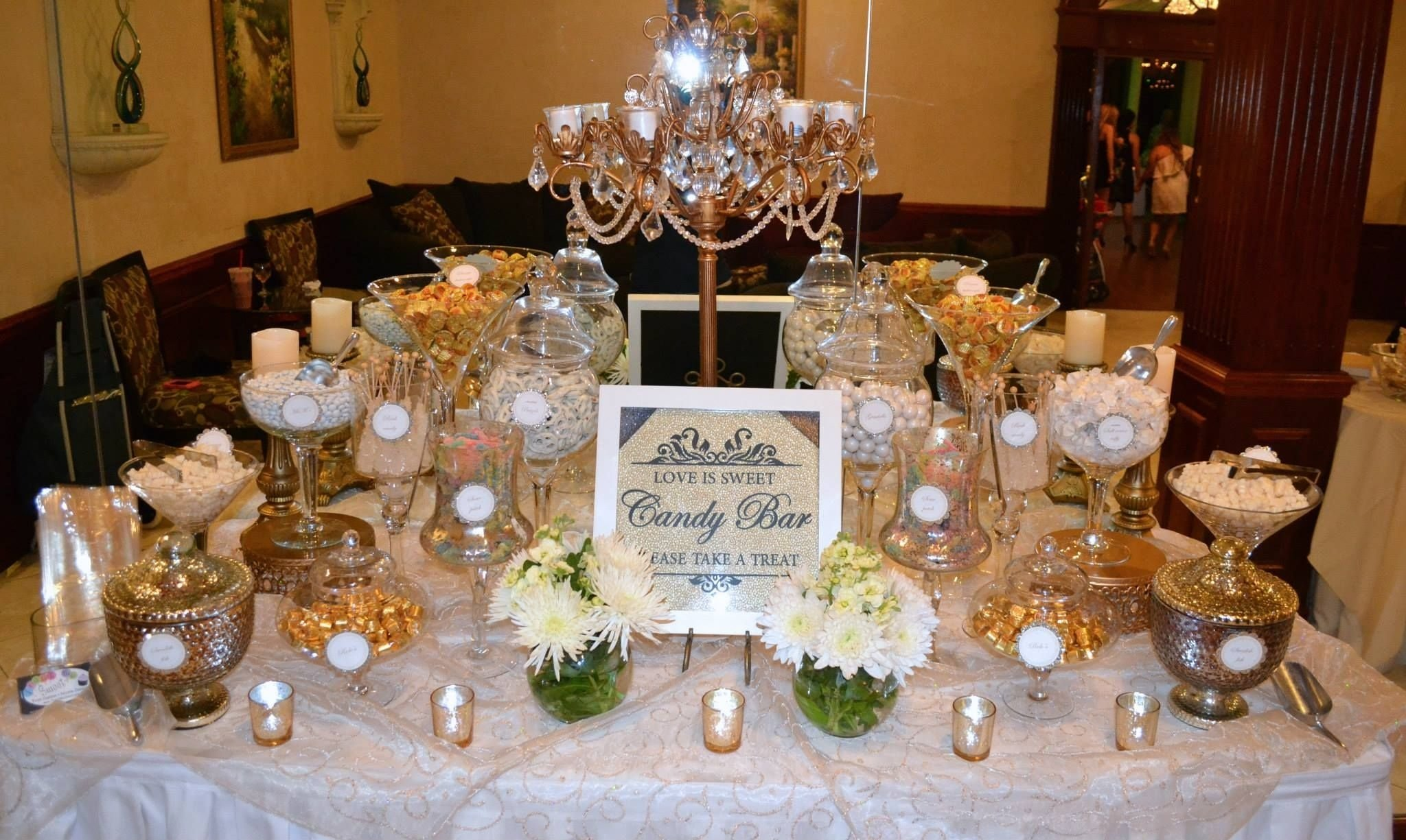 10 Amazing Candy Bar Ideas For Weddings white and gold wedding candy buffet candy bars pinterest 2020