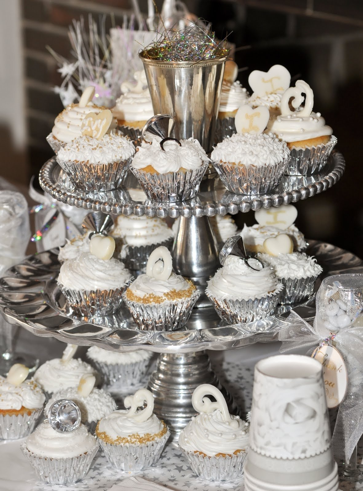 10 Wonderful All White Birthday Party Ideas white and silver cake stand party decorations google search 2020