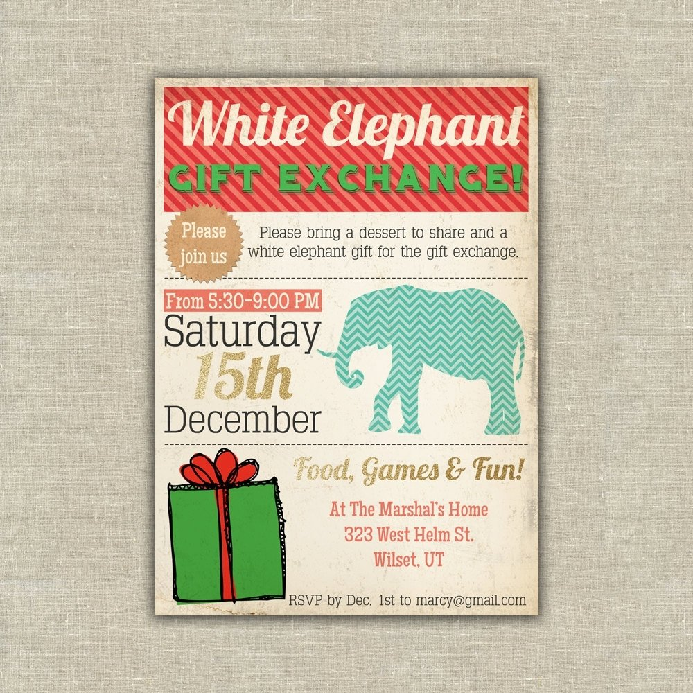 10 Most Popular Office Party Gift Exchange Ideas white elephanat gift exchange invitation christmas holiday 37 50