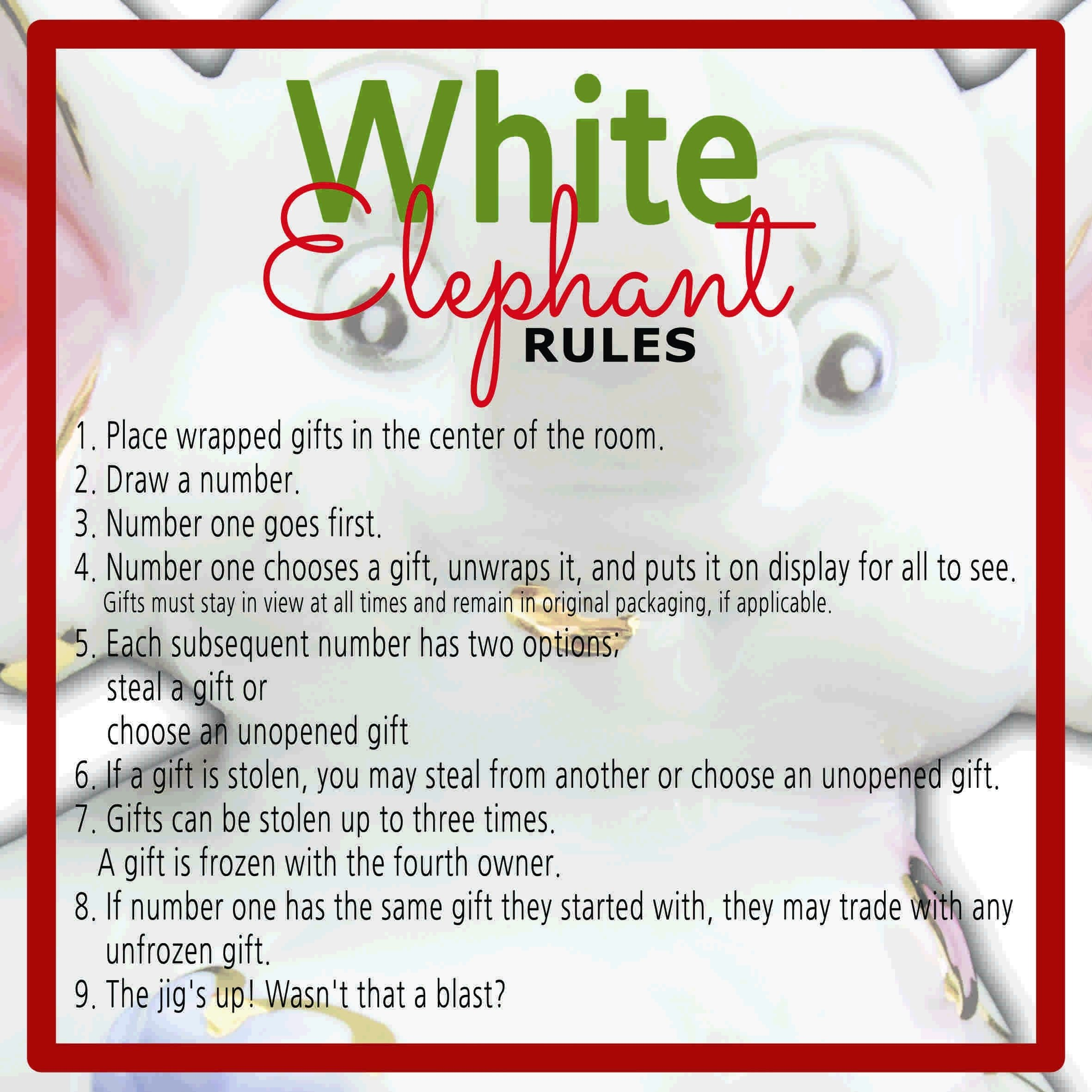 white elephant gift exchange rules and printables - sunshine and