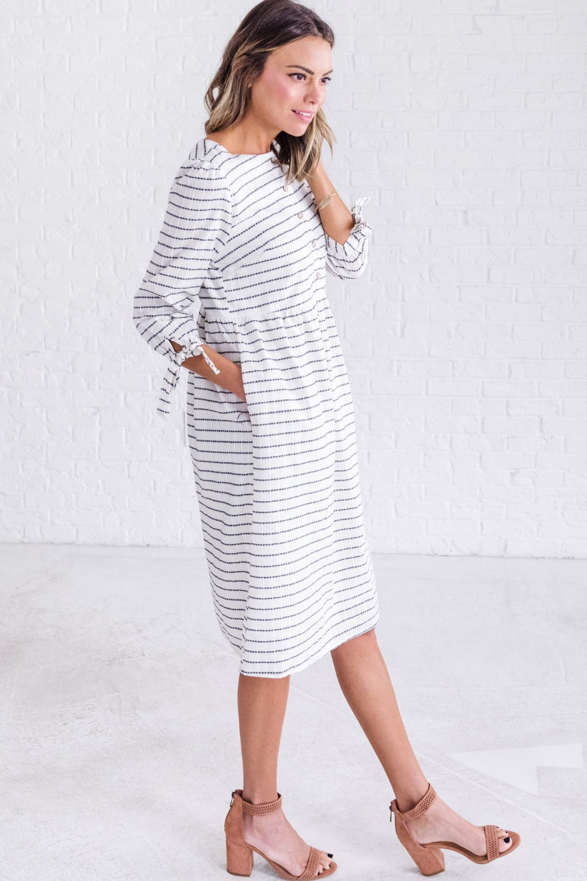 white striped dress, cute church outfits for women, cute spring