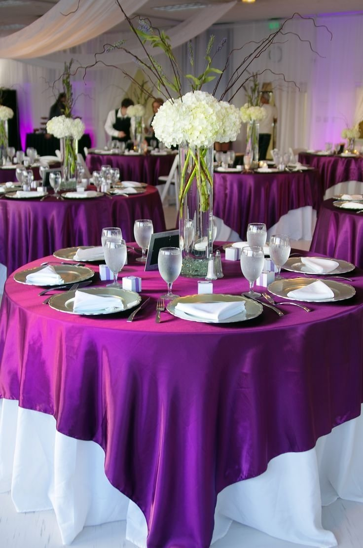 10 Trendy Purple And White Wedding Ideas white tablecloth with purple overlay one of my options use our 2021