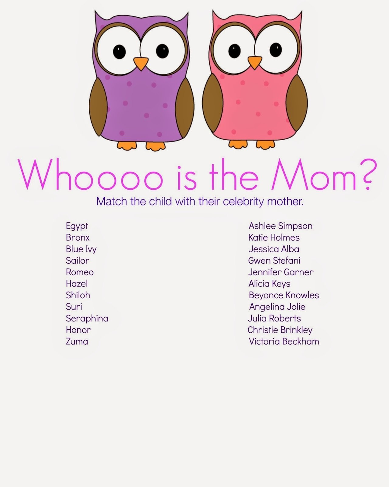 whooo is the mother? baby shower game | baby showers ideas