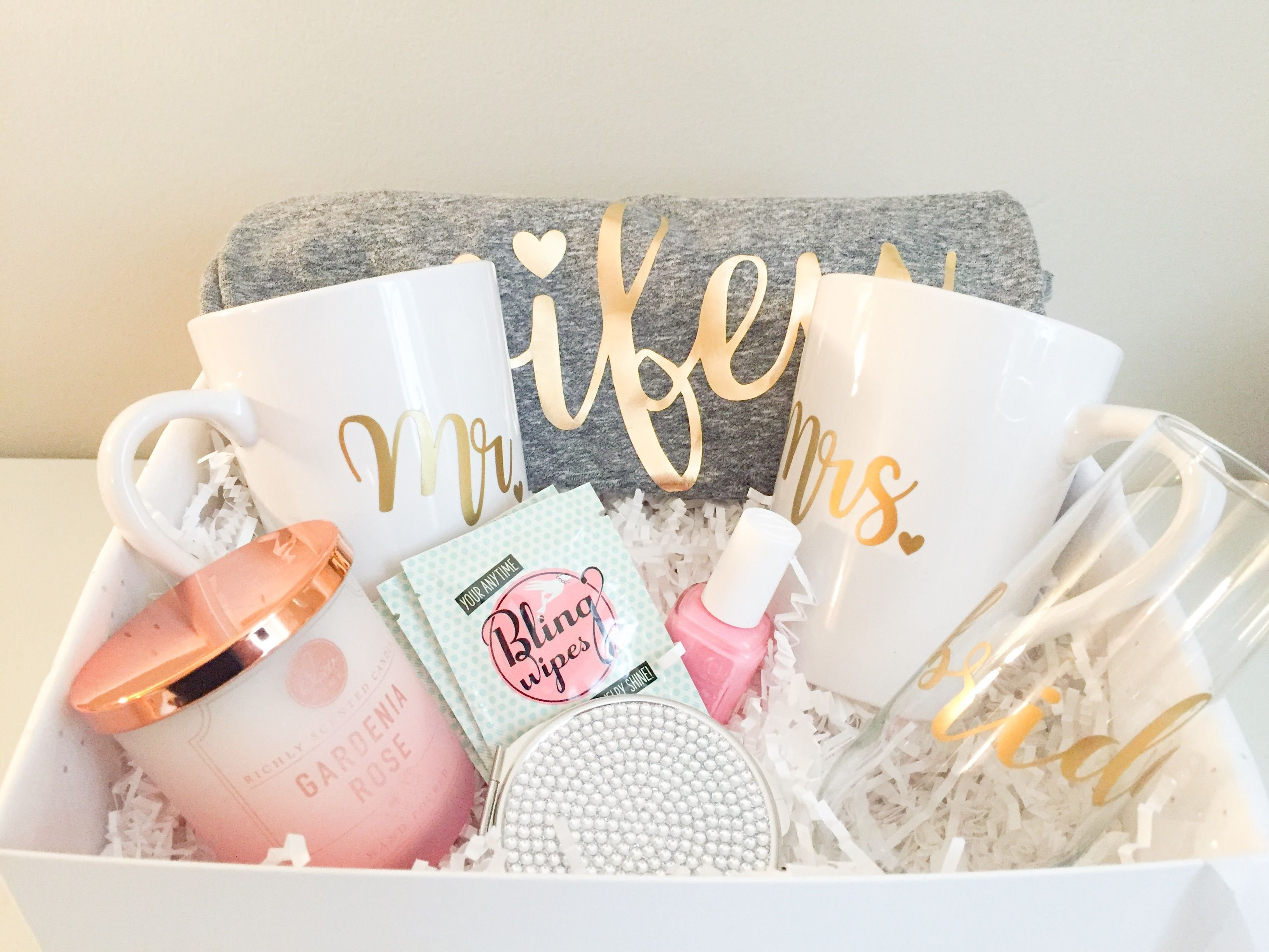 10 Stylish Engagement Gift Ideas For Couples wifey material bridal gift baskets custom gifts and gift 4 2020