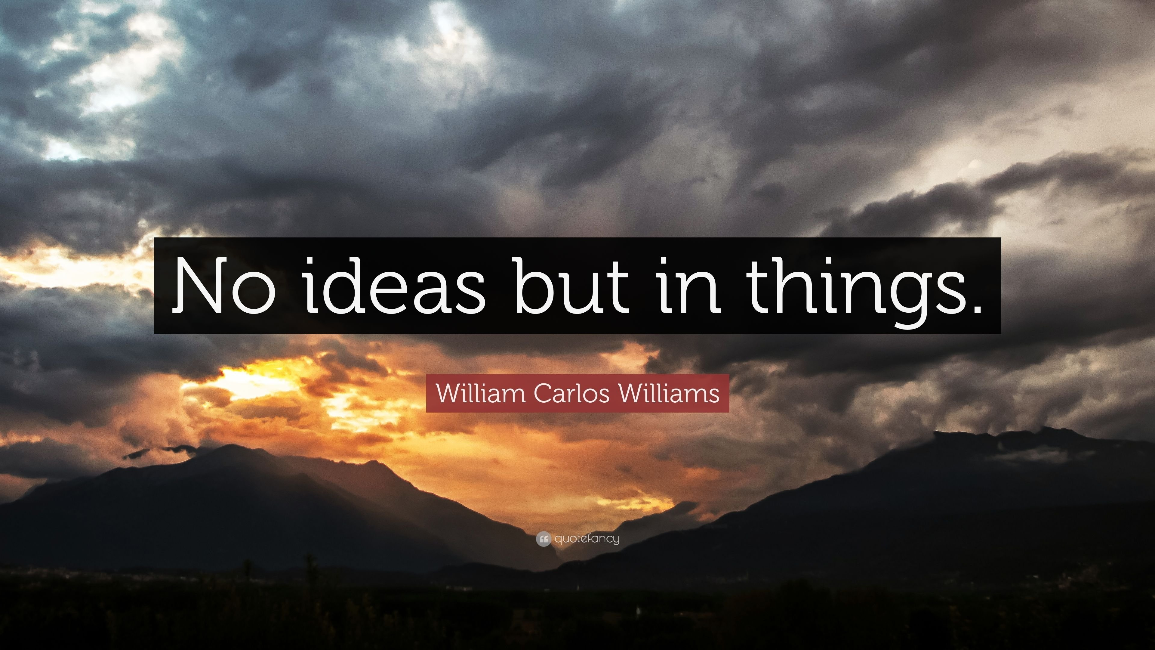 "william carlos williams quote: ""no ideas but in things."" (7"