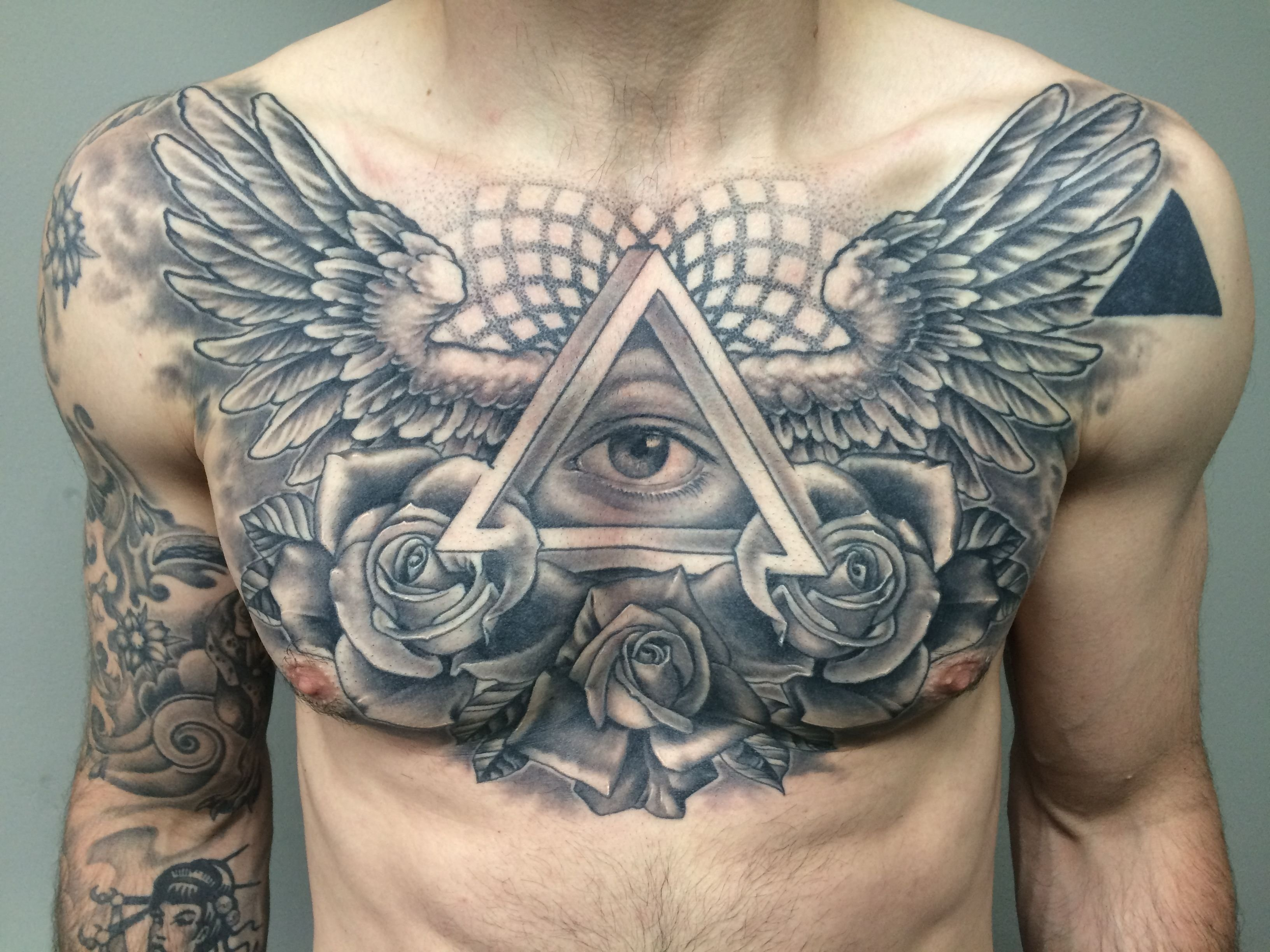 wings chest piece tattoo | tattoos | pinterest | chest piece tattoos