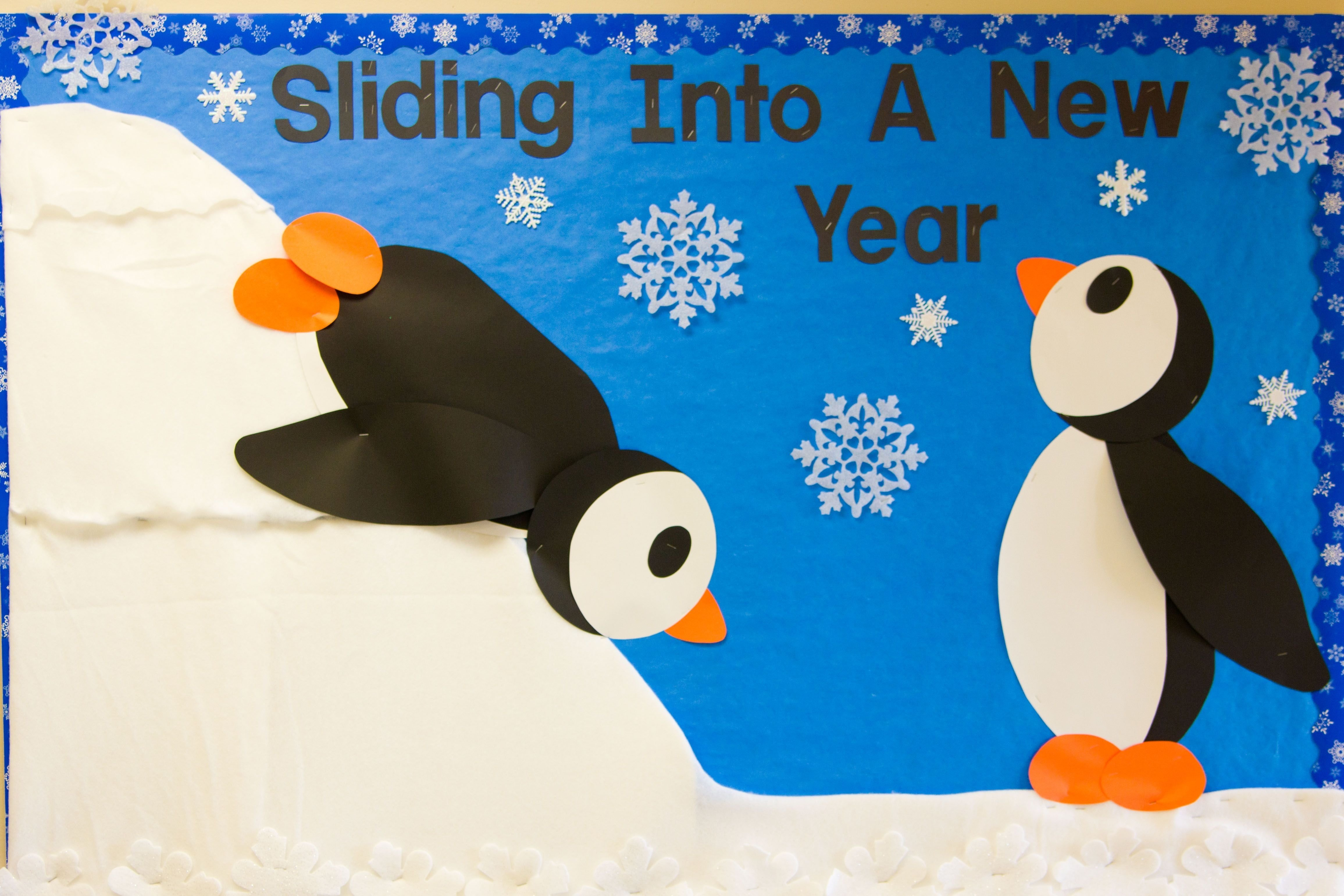 winter bulletin board 2012 | bulletin board, penguins and teacher