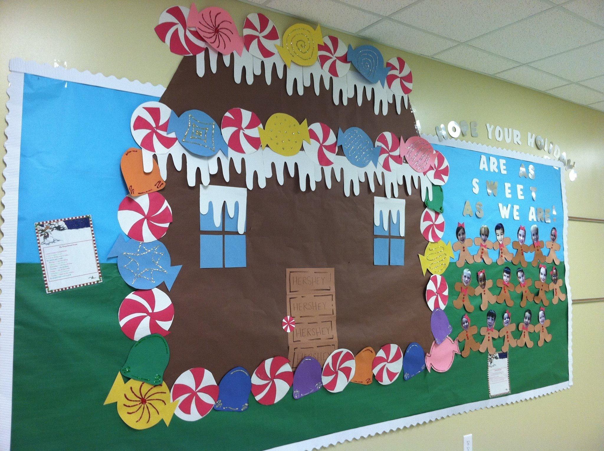10 Gorgeous Winter Wonderland Bulletin Board Ideas winter bulletin board idea like the gingerbread housecaption 2021