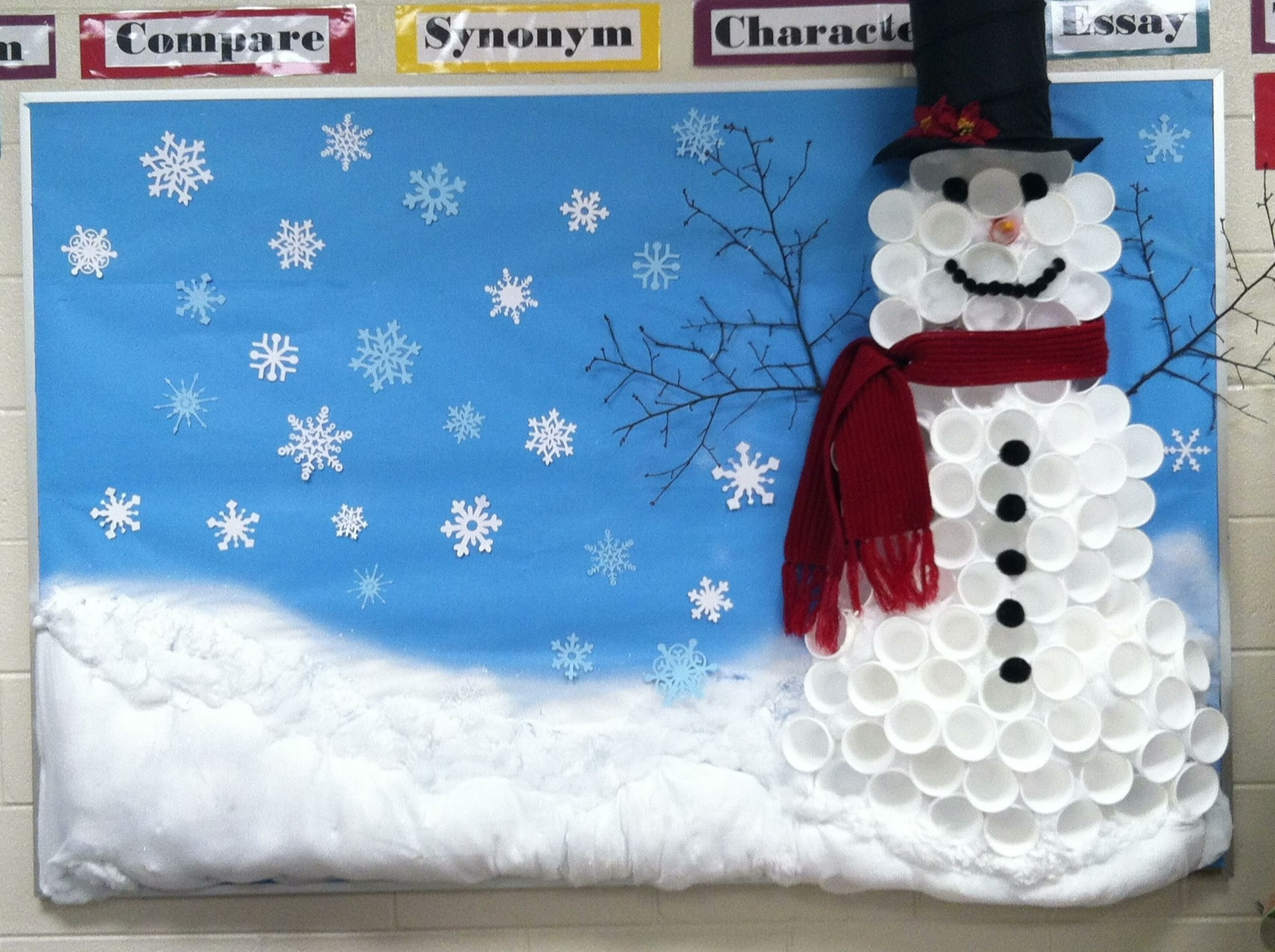winter bulletin board-snowman made out of cups | bulletin board