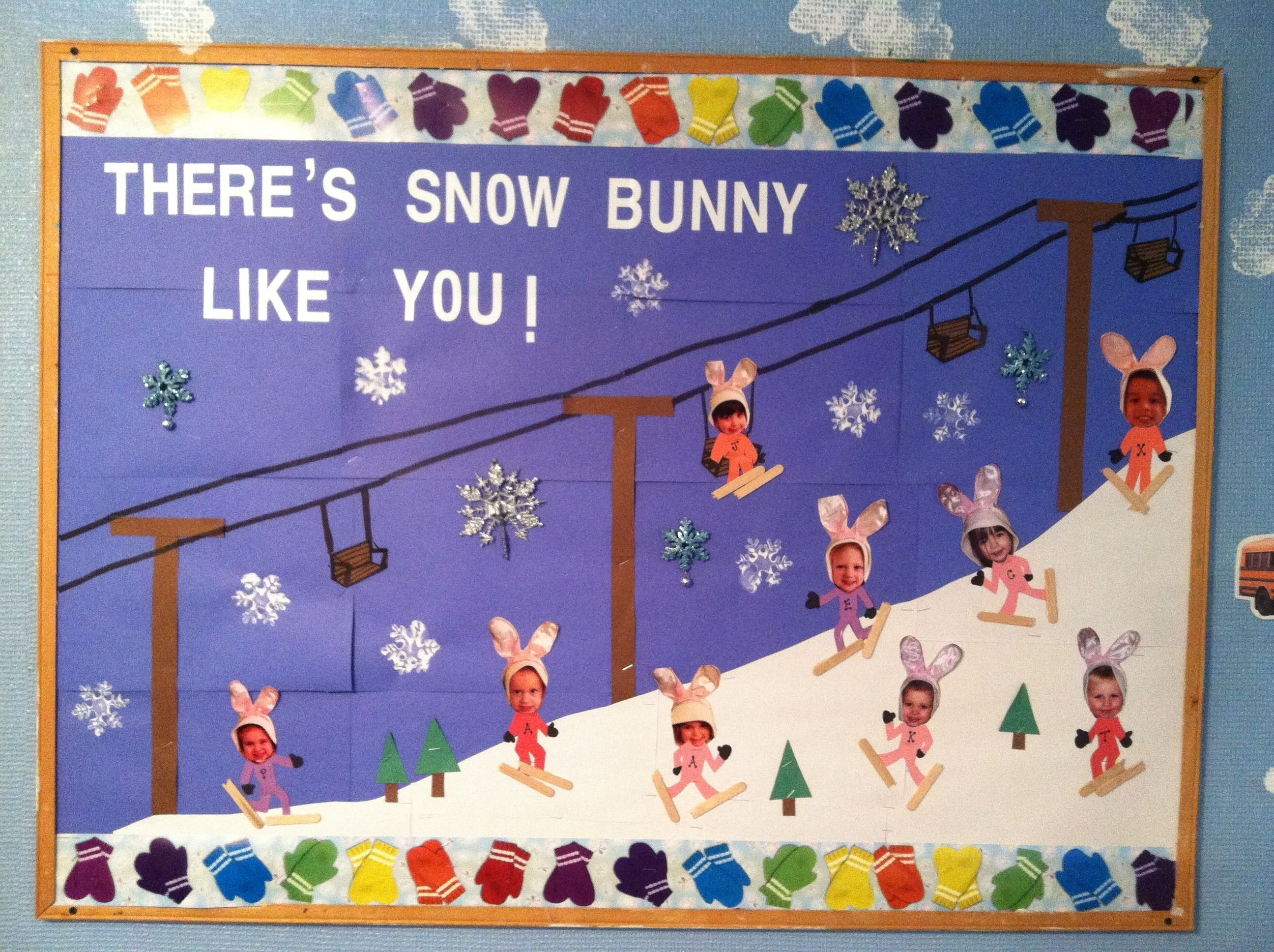 10 Best Winter Bulletin Board Ideas Preschool winter classroom bulletin board there is snow bunny like us 2