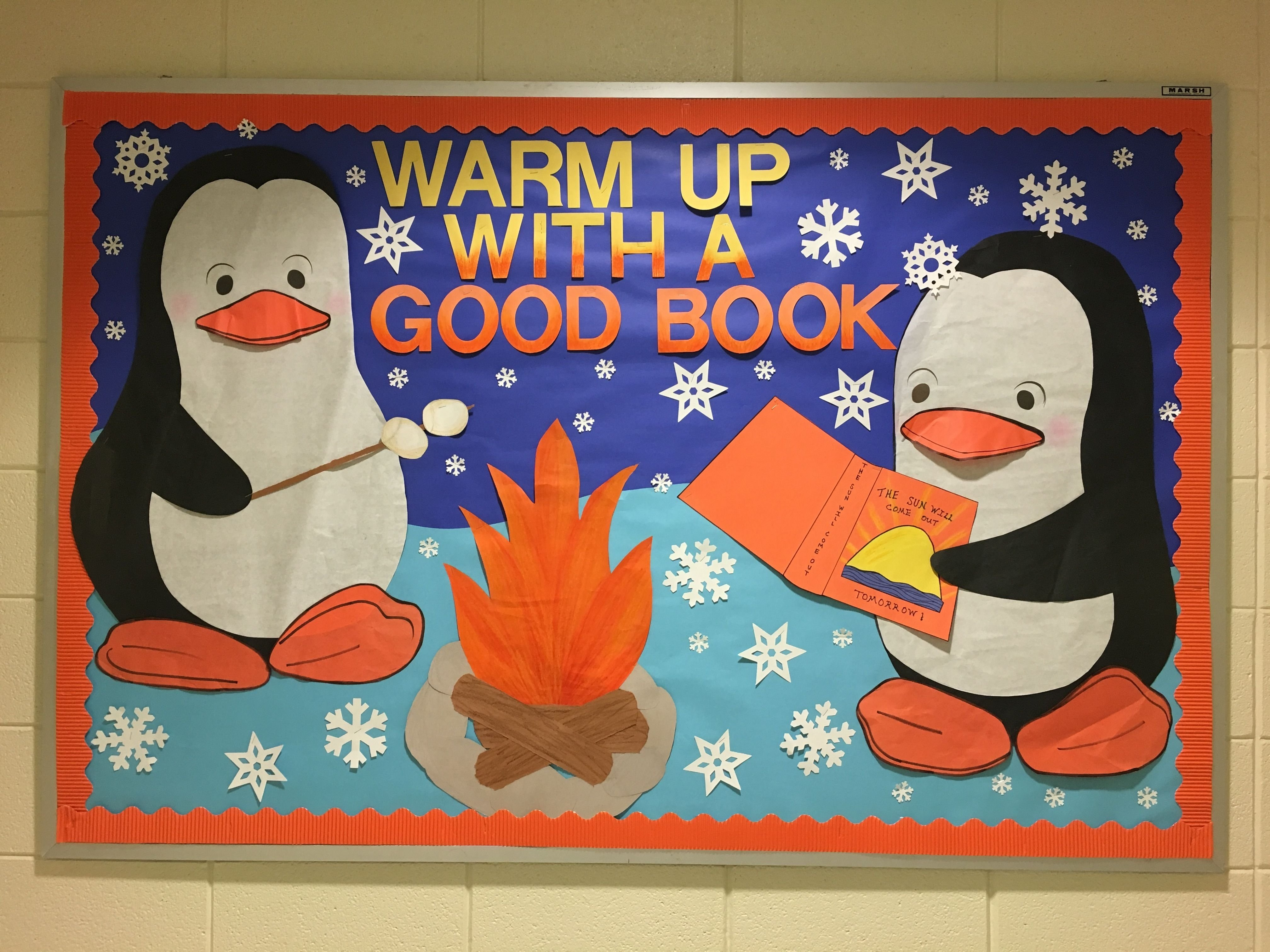 10 Ideal Bulletin Board Ideas For January winter school library bulletin board warm up with a good book 2 2021