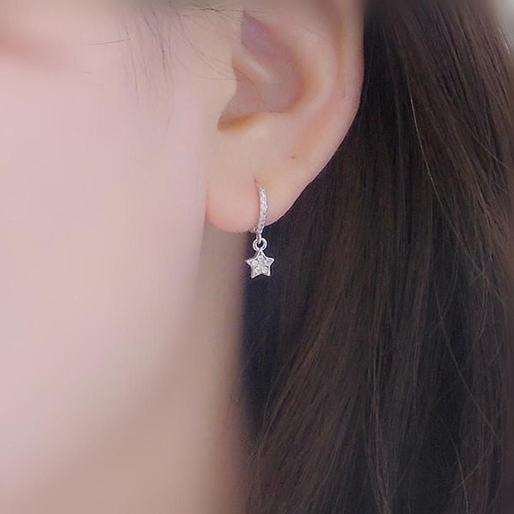 10 Fashionable Cute Piercing Ideas For Girls wish minimal dainty star moon huggie hoop ring earrings in silver 2021