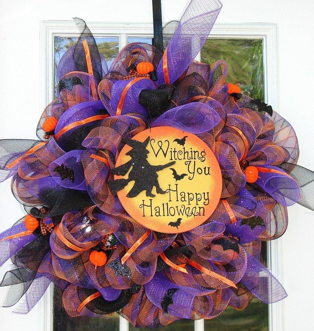 10 Unique Halloween Deco Mesh Wreath Ideas witching you a happy halloween witch wreath halloween poly deco