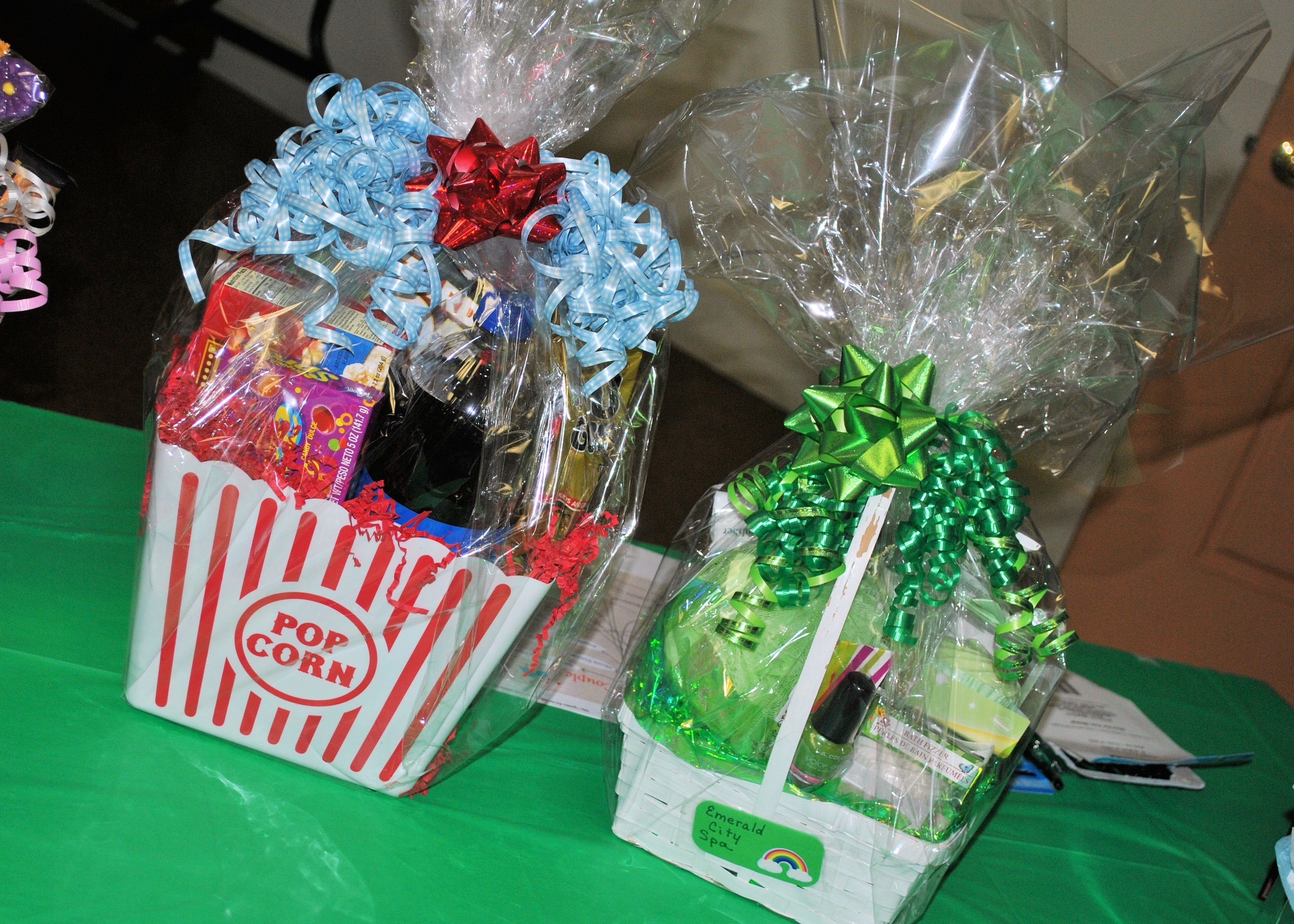 "wizard of oz ""movie night"" and ""emerald city spa"" gift baskets"