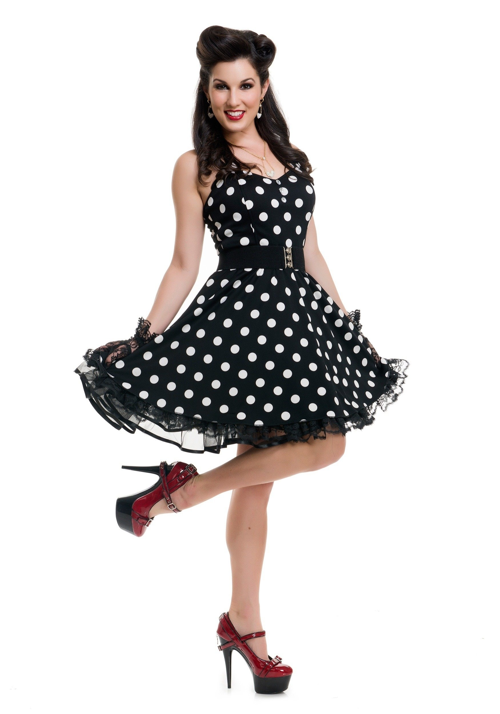 women's black polka dot pin up costume