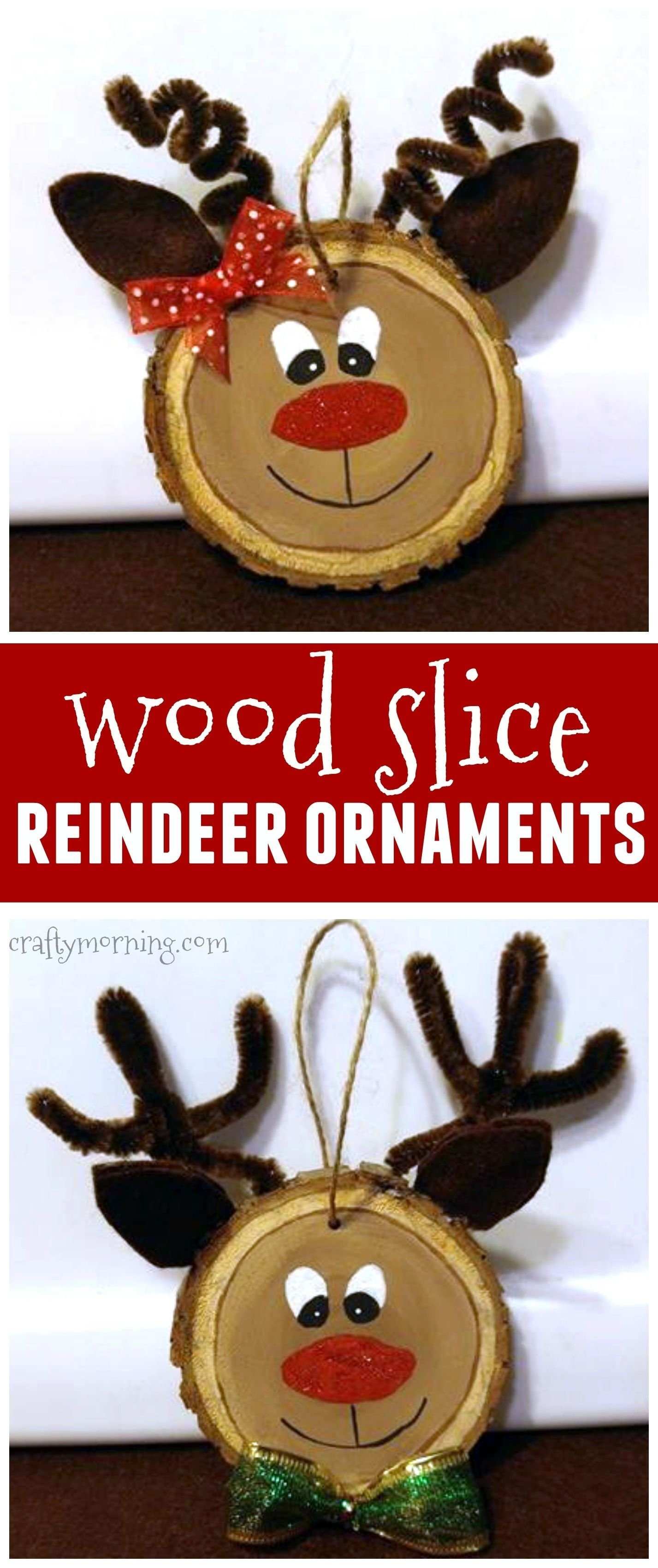 10 Best Wood Craft Ideas To Make wood slice reindeer ornaments for a kids christmas craftthese 2020