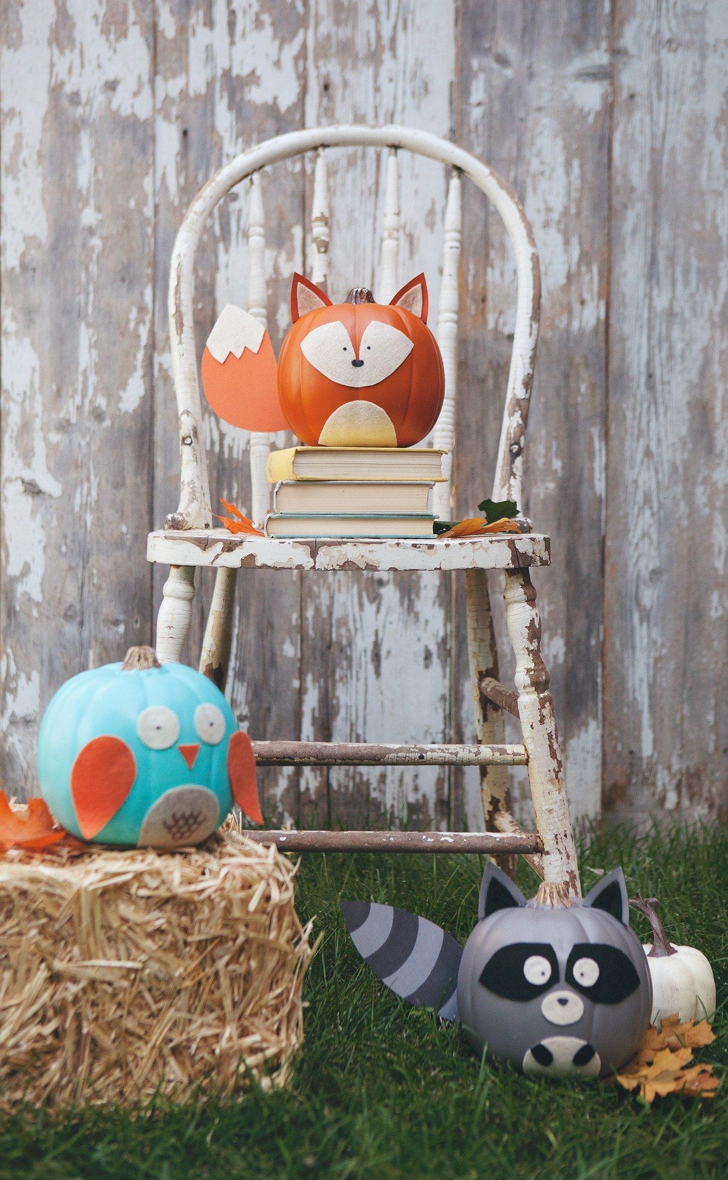 10 Stunning No Carve Pumpkin Decorating Ideas For Kids woodland creature no carve pumpkins 1 2020