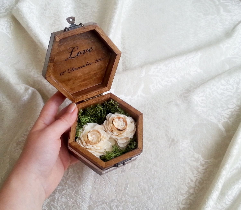 10 Beautiful Ring Bearer Ideas Alternatives To Pillow woodland moss sola flowers ring bearer wedding rings box pillow 2020