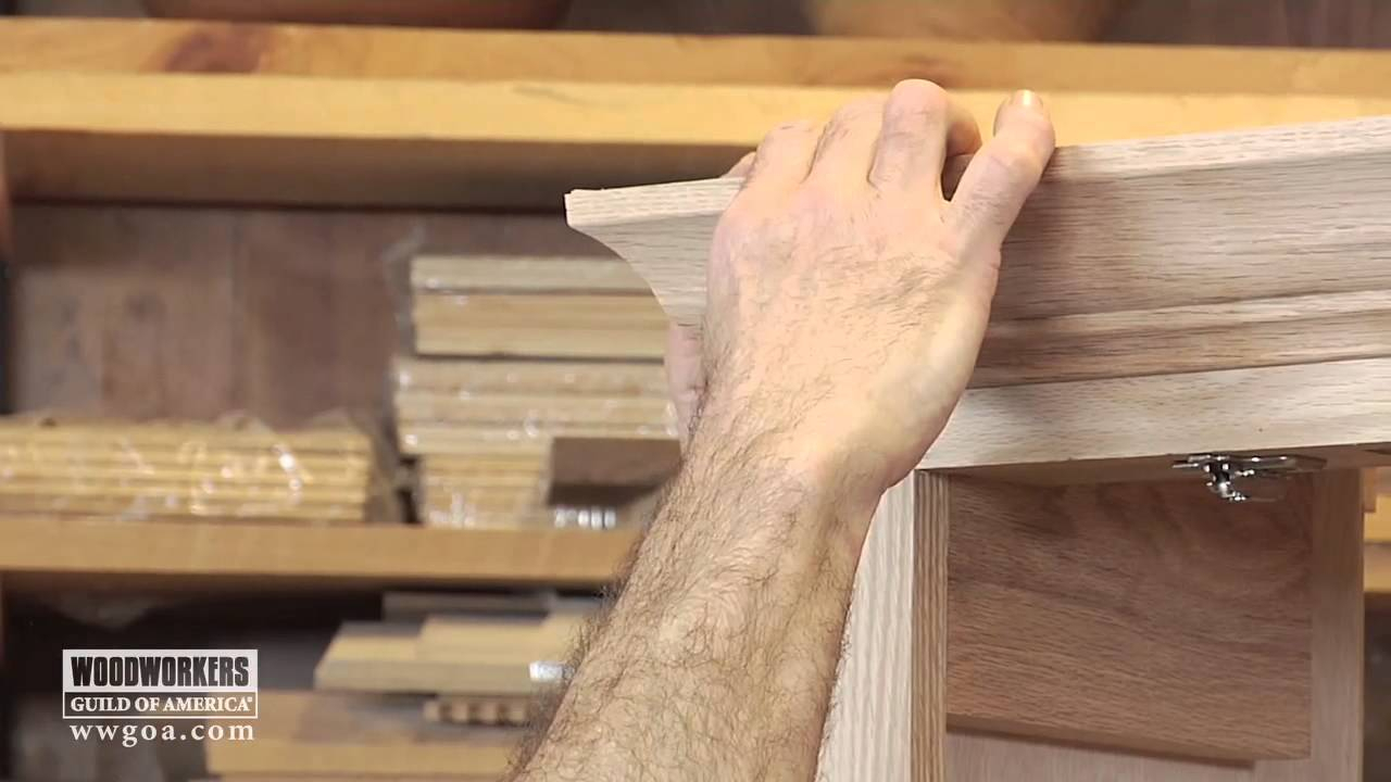 10 Unique Crown Molding Ideas For Kitchen woodworking diy project installing crown molding on a cabinet 2021