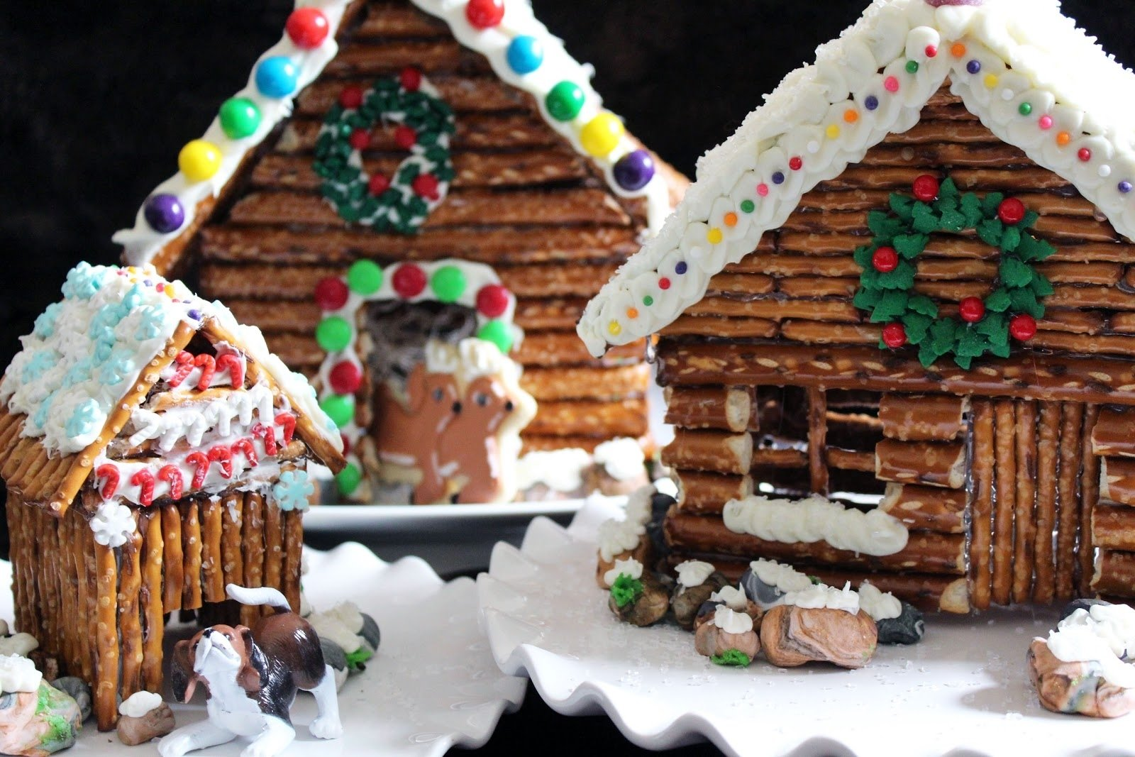 10 Wonderful Gingerbread House Ideas For Kids worth pinning decorated pretzel cabins 2020