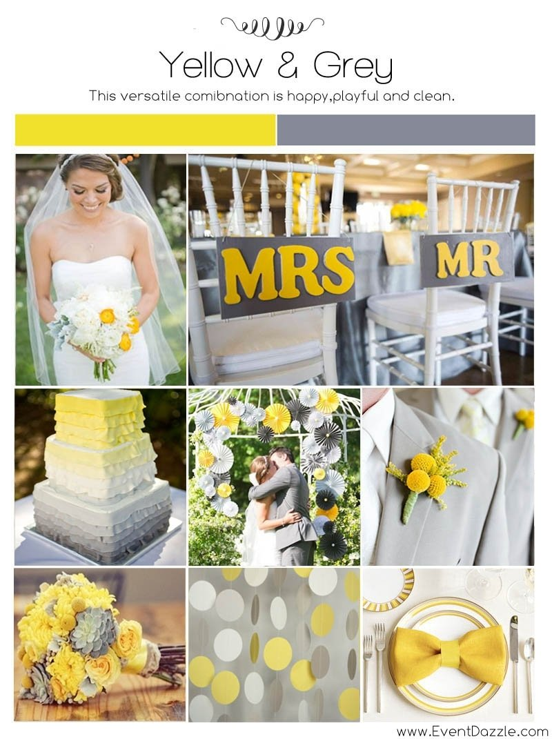 10 Most Recommended Grey And Yellow Wedding Ideas yellow and grey wedding ideas dream weddings start here 2 2021