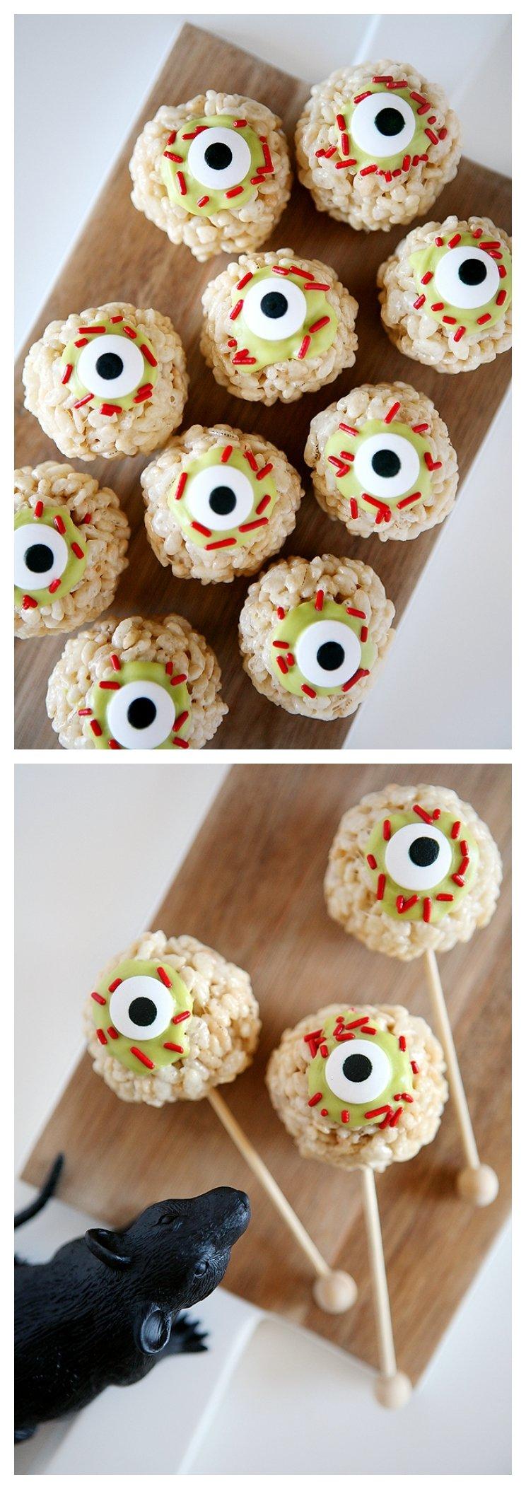 10 Great Halloween Rice Krispie Treat Ideas zombie eyeball rice krispies treats eighteen25 2020