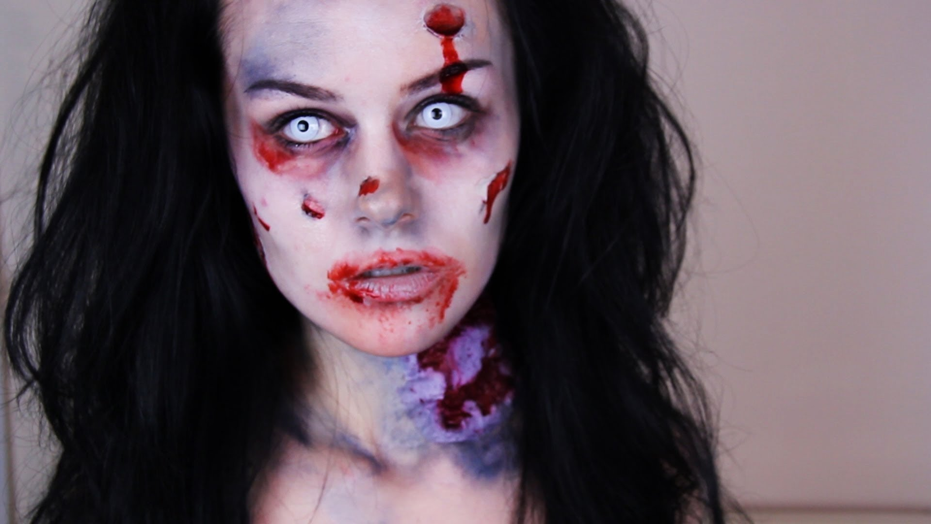 zombie makeup tutorial -- how to do easy zombie makeup - youtube